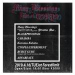Many Blessings, BLACKPHONE666, Kazuma Kubota, CARAMBA, UTOPIA EXPERIMENT, BURST GURU, AIWABEATZ